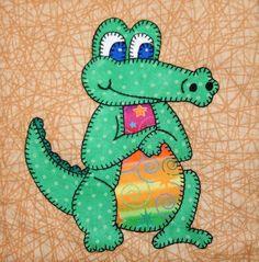 (7) Name: 'Quilting : Baby Crocodile Applique Block