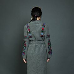 Embroidered coat navy-blue with floral embroidery