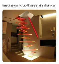 I love these weird stairs! Imagine trying to walk down these stairs half asleep! Oh goodness! Ohohoho Person of the last comentary, imagine being half asleep AND drunk, trying to walk up and down the stairs Interior Architecture, Interior And Exterior, Interior Design, Architecture Memes, Interior Stairs, Amazing Architecture, Escalier Design, Stairway To Heaven, Staircase Design