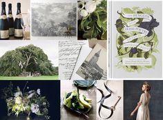 "Via Snippet and Ink...  ""Palette: matte fig black, green velvet, white  Mood: romantic early spring"""