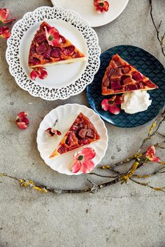 Rhubarb and Marzipan Upside Down Cake // Hummingbird High