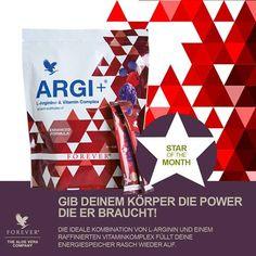 ARGI+ L-Arginin aminosavat és vitaminokat tartalmazó különleges táplálkozási igényt kielégítő élelmiszer Az L-Arginin aminosav több fontos élettani folyamatban vesz részt, csodamolekulaként ismert.  Az ARGI+ 1500 mg L-arginint és antioxidáns hatású gyümölcskeveréket tartalmaz. A B12, a B6-vitamin, a folsav hozzájárul a fáradtság és a kifáradás csökkentéséhez, a D-vitamin részt vesz az egészséges izomfunkció fenntartásában, a C-vitamin hozzájárul az immunrendszer normál működéséhez…