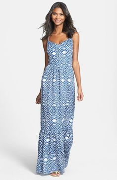 Betsey Johnson Spaghetti Strap Print Linen Blend Maxi Dress | Nordstrom
