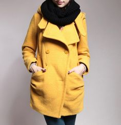 Women's hooded cape coat winter coat wool jacket by Dressbeautiful, $65.99