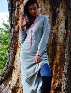Autumn Winter Grey with Baby Pink Moroccan Caftan Kaftan Aisha-loungewear,resortwear,robe, great for birthdays, Honeymoon or Maternity Gift by MaisonMarrakech on Etsy
