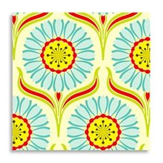 Pop Garden Pop daisy Red by Heather Bailey- Yard Quilt Fabric Textile Patterns, Print Patterns, Textiles, Textile Design, Sewing Patterns, Heather Bailey, Retro Fabric, Bunt, Red And Blue