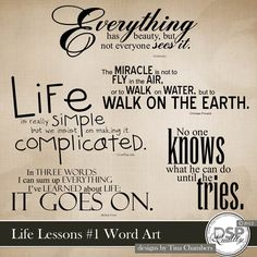 Life Lessons Word Art [DL-TC-W-LifeLessons] - $1.99 : Digital Scrapbook Place, Inc. , High Quality Digital Scrapbook Graphics