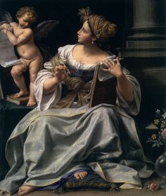 Sibyl (1718-22). Donato Creti (Italian, 1671-1749). Oil on canvas. Museum of Fine Arts, Boston. Christians interpreted Virgil's text in reference to the birth of Jesus, to which Creti alludes in the Latin inscription on the paper at upper left. The comparatively small scale of this image lends itself well to Creti's meticulous manner of painting. Noteworthy is the still life of pink roses and marsh marigolds at lower right, flowers that traditionally bore strong associations with the Virgin.