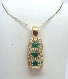 "14K YELLOW GOLD 3 STONE DIAMOND AFRICAN EMERALD PENDANT W  18"" CHAIN #Pendant"