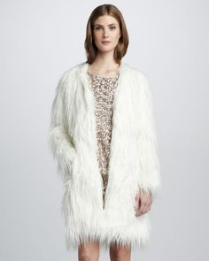 Rachel Zoe White Petra Fauxfur Coat   @rachelzoe from www.outlet77.com