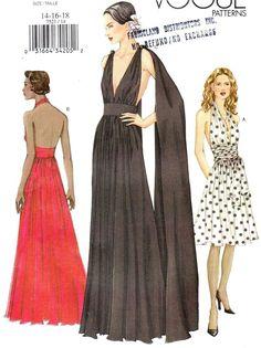 Vtg UC Vogue Pattern 7521 Backless Evening Gown Plunge Halter Dress Sz 14 16 18 | eBay