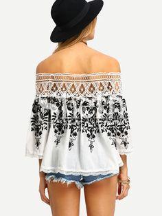 Shop Black White Off The Shoulder Embroidered Blouse online. SheIn offers Black White Off The Shoulder Embroidered Blouse & more to fit your fashionable needs.