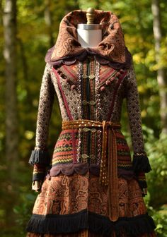 Sweater COAT long patchwork bohemian corset style by amberstudios