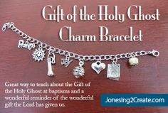 A wonderful charm bracelet that helps explain the Gift of the Holy Ghost for LDS Baptism Talk on the Gift of the Holy Ghost. Baptism Talk, Baptism Party, Baptism Dress, Baptism Gifts, Holy Ghost Talk, Lds Church, Church Ideas, Fhe Lessons, Church Activities