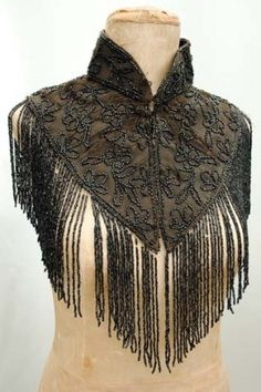 Victorian French jet, glass beaded mourning mantle cape