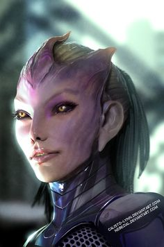 """my wife's tali zorah redesign"" in 3d by *nebezial. // this fan-art piece is so much better than what the game had to offer--that is, a barely 'shopped stock photo. (for those of you who don't know what game we're talking about, it's the Mass Effect trilogy.)"