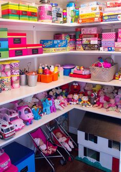 An organized toy closet where everything is in plain sight.