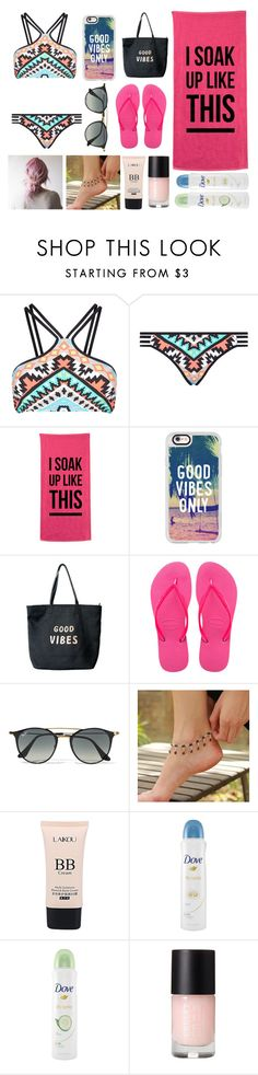 """""""BeAcH FuN!!"""" by happinesspeaceandlove ❤ liked on Polyvore featuring Seafolly, Casetify, Venus, Havaianas, Ray-Ban, NOVICA and Dove"""