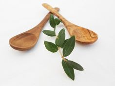 Olive Wood Small Coffee Sugar Spoon Set, Set Of 2 Sugar Salt Coffee Spoons 12cm - 4.8 Inches by Zitouna Wood on Gourmly