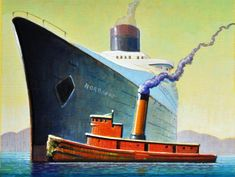 "Daily Paintworks - ""Tug"" - Original Fine Art for Sale - © Robert LaDuke Seascape Art, Art Deco Posters, Retro Art, Retro Futurism, Surreal Art, Fine Art Gallery, Art For Sale, Book Art, Original Paintings"