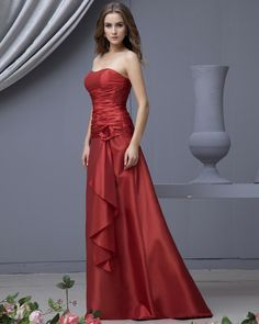 Flower Sash Strapless Floor Length Satin Bridesmaid Dress
