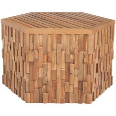 Teak Wood Patched Coffee Table - hexagon shape