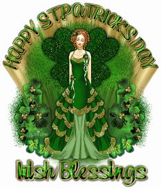 Happy St. Patrick's Day Irish Blessings glitter green woman gif comment irish greeting st patricks day shamrock