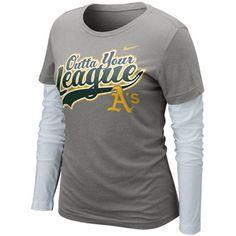 Nike Oakland Athletics Ladies League Double Layer Long Sleeve T-Shirt - Charcoal-White