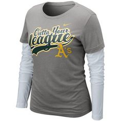 Nike Oakland Athletics Ladies League Double Layer Long Sleeve T-Shirt - Charcoal-White