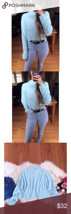 🍂 90's Essential Baby Blue Ribbed Crop Sweater 🍂 Awesome vintage 90's cropped sweater by Southern Lady! Features the softest ever wide ribbed knit in a beautiful shade of subtle aqua baby blue. Mock neck fit, raw cut bottom hem. Pairs perfectly with high waisted denim! In excellent vintage condition. Marked size medium, will fit sizes xs to medium depending on your desired fit! Modeled on a size xs/small, 5'2 height :) Vintage Sweaters Cowl & Turtlenecks