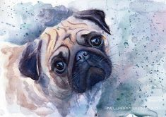 Pug print Pug watercolor painting Pug poster Pug big print Pug portrait Pet print Dog print Print of my original watercolor painting Pet art Animal painting   This giclee fine art print of my watercolor painting is professionally printed professional pigment inks on watercolor paper.  Frame is not included. Your print comes signed and dated below the image, please let me know if youd prefer it unsigned. Also possible this print has date and signature on the back.   The size is customizable…