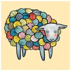 Yarn Sheep Sheep Illustration Sheep Print 8 x 10 | Etsy Sheep Tattoo, Yarn Tattoo, Sheep Illustration, Watercolor Illustration, Sheep Art, Sheep Wool, Alpacas, Knit Art, Sheep Drawing