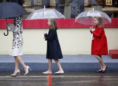 12 October 2016 - King Felipe VI & Queen Letizia of Spain, & Princess Leonor & Infanta Sofía, attend the National Day military parade in Madrid, Spain.