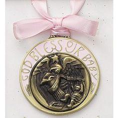 Guardian Angel Crib Medal - Pink (Engravable),  $18.95