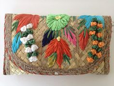 Vintage Straw Weave Clutch Purse Bright Floral Natural Fiber