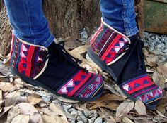 Womens Akha Moccasin Shoe In Colorful Tribal by SiameseDreamDesign, $46.00