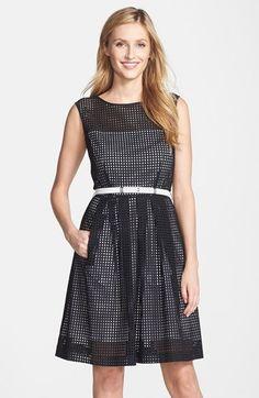 Petite Women's Tahari Belted Eyelet Fit & Flare Dress, Size 10P - Black