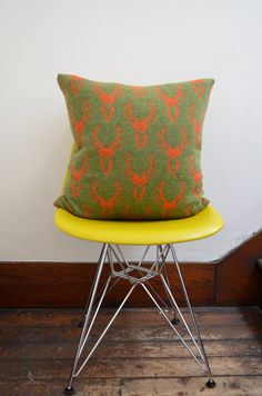 Olive Green Stag Head Knitted Cushion Pillow 20x by nervousstitch, $134.00