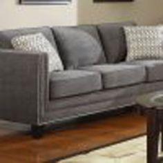 Grey Carleton Nail Head Sofa Emerald Home Furnishings Sofas Sofas & Sectionals Living Room