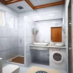 a SMALL bathroom, yet attractive..WITH A DRYER.......now you're talkin'