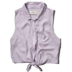 Abercrombie & Fitch Natalie Shirt ($9.60) ❤ liked on Polyvore featuring tops, lilac, metal top, lilac top, shirt crop top, lilac shirt and crop top