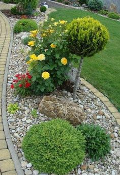 Stone landscaping ideas for front yard Front Yard Garden Design, Small Front Yard Landscaping, Stone Landscaping, Garden Landscape Design, Landscaping With Rocks, Outdoor Landscaping, Landscaping Ideas, Garden Stones, Garden Paths