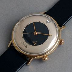 "JAEGER LECOULTRE 10K Gold Filled Memovox ""Bulls Eye"" Wrist Alarm Watch 1968"