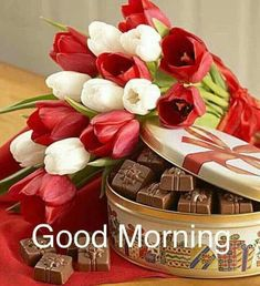 Chocolate bouquet when gifted can have the long-lasting impression on your loved ones and can surprise them on their special occasion. Good Morning Cards, Good Morning Flowers, Good Morning Greetings, Good Morning Good Night, Good Morning Wishes, Good Morning Images, Gd Morning, Valentine Chocolate, Christmas Chocolate