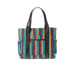 Striped tote bag handcrafted in Nepal with handloomed cotton and recycled tyre tube $40 http://www.jeevankala.com/ProductDetails.asp?ProductCode=COT%2DBAG%2DTOT