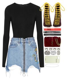 """strange"" by iriskatarina ❤ liked on Polyvore featuring I.D. SARRIERI, Marcelo Burlon, Dsquared2, Too Faced Cosmetics, Chantecaille, Yves Saint Laurent, Maison Margiela, King Baby Studio, Off-White and Anne Sisteron"