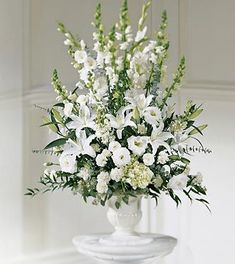 large+white+silk+flower+arrangements+church | brilliant display of white flowers