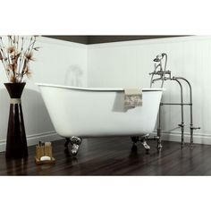 Aqua Eden 4.4 ft. Cast Iron Satin Nickel Claw Foot Petite Slipper Tub in White - HVCTND5328NT8 - The Home Depot