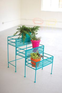 turquoise 3 tier slide out planter
