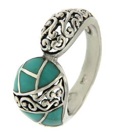 Solid Sterling Silver Turquoise Die-Cut Cluster Ring » R115 #Notspecified…